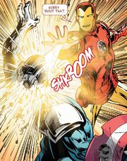 James Rhodes (Earth-616) vs. Steven Rogers (A.I.) (Earth-14831) from New Avengers Ultron Forever Vol 1 1 001
