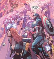 Avengers (Earth-616) and Avengers (A.I.) (Earth-14831) from Avengers Vol 5 31 001