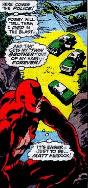 Matthew Murdock (Earth-616) fakes Mike Murdock's death from Daredevil Vol 1 41