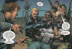 Veronica Crime Family (Earth-7642) and Frank Castle (Earth-7642) from Punisher Painkiller Jane Vol 1 1 001