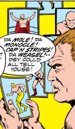 Mole (Wrestler) (Earth-616), Monocle (Wrestler) (Earth-616), Weasel (Wrestler) (Earth-616) and Cap'n Stripes (Wrestler) (Earth-616) from Power Man Vol 1 27 0001