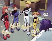 Henry McCoy (Earth-5631) and Power Pack (Earth-5631) from X-Men and Power Pack Vol 1 2 0001