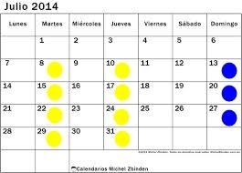 Calendario julioo