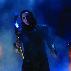 Loki turns to Nick Fury who has seen him enter using the Tesseract.