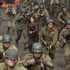 Peggy charges forwards with the rest of the army.