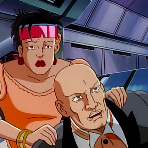 Jubilee with Xavier after Apocalypse's forces crash Jean and Scott's wedding.