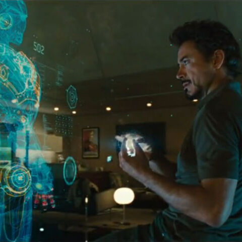 J.A.R.V.I.S. and Tony looking at the inner-workings of his Iron Man suit.
