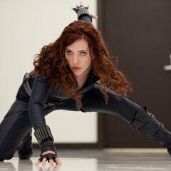 Natasha Romanoff battles Hammer's guards.