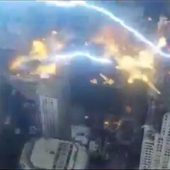Thor striking The Chitauri with lightning.