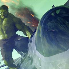 Hulk attacking a jet.