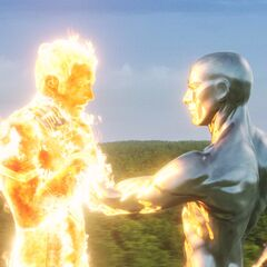 Silver Surfer grabs Johnny by the throat