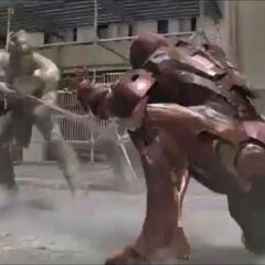 Iron Man fighting against the Chitauri.