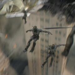 The Chitauri jumping from the Leviathan.