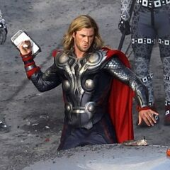 Thor facing off Loki's mysterious army.