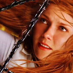 Mary Jane suspended in Venom's web