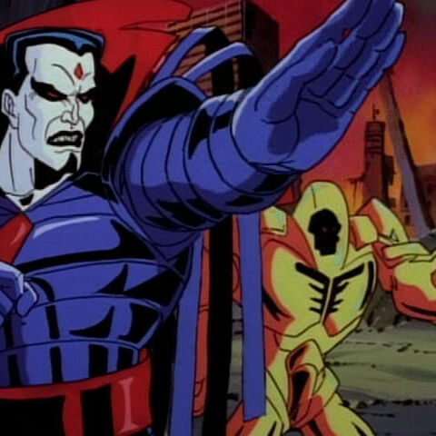 Mr. Sinister facing the Avengers.