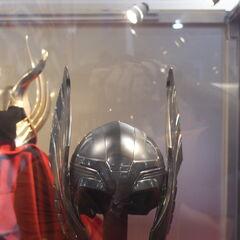 Thor's helmet on display.