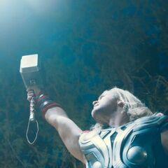 Thor using a lighting strike.