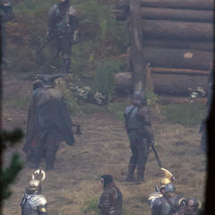 Asgardian warriors and enemies on the set.