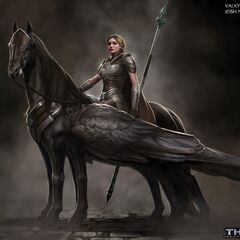 Unused concept art for Valkyrie and Aragorn.