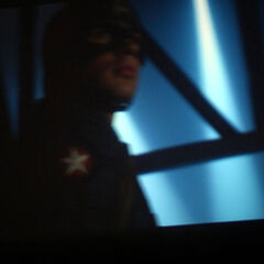 An unclear picture of Evans as Captain America from the Teaser Trailer.