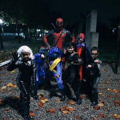 Reynolds as Deadpool on Halloween