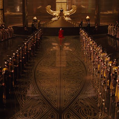 Einherjar form an honor guard during Thor's coronation