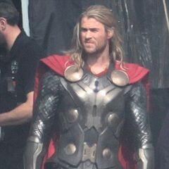 Chris Hemsworth on set as Thor.