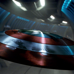 Cap's shield holding open a door