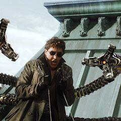 Doctor Octopus gets grabbed by Spider-Man's webs.
