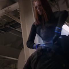 Black Widow using her gauntlets.