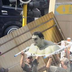 The Practical Hulk used on set.