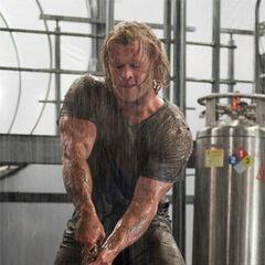 Thor attempting to lift Mjölnir.