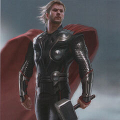 Production concept art of Thor for The Avengers.