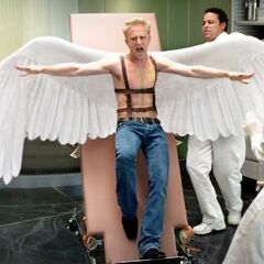 Angel breaks loose from his restraints