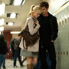 Peter and Gwen in the school's locker room.