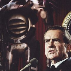 <b>1973: TRASK ANNOUNCES THE SENTINEL MARK I PROGRAM.</b><br /><i>President Nixon welcomes the Sentinels with open arms.</i><br /> Through a defense contract with the Nixon administration, Trask Industries begins production and deployment of the Sentinel Mark I. While the heavily funded project raised the level of national security capabilities, it also resulted in America moving away from the Gold Standard.
