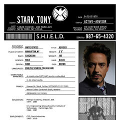 SHIELD file on Tony Stark.