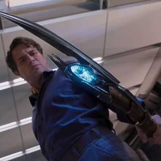Bruce Banner holding the Chitauri Scepter