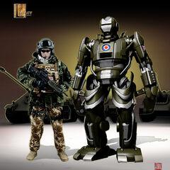 Concept art for a British battle droid.