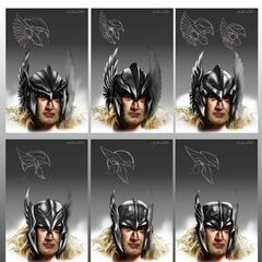 Concept art for Thor's helmet.