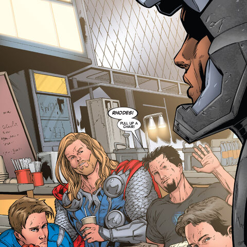 Tony invites Rhodey to eat with him and the Avengers