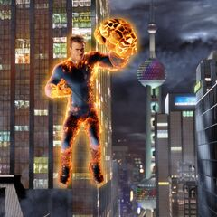 Johnny using pyrogenesis and combined powers of all the Fantastic Four members.