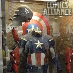 Cap's modern costume on display.