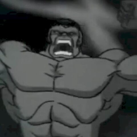 Bruce as Grey Hulk.
