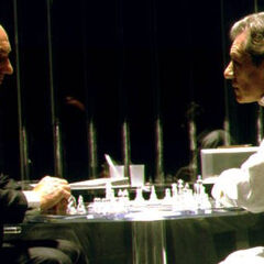Playing chess with his old friend Charles Xavier.