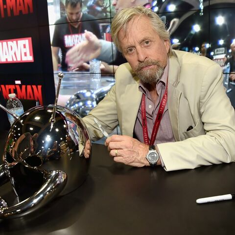 Michael Douglas with the Classic Ant-Man helmet