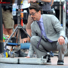 Robert Downey Jr. on set as Tony Stark.