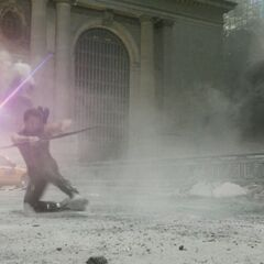 Hawkeye in battle.