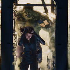 Hulk chasing Black Widow.